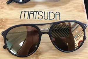 Matsuda M2030 shown without side sheilds and on bottom  Matsuda M2031  in matte black with leather side sheild attachment